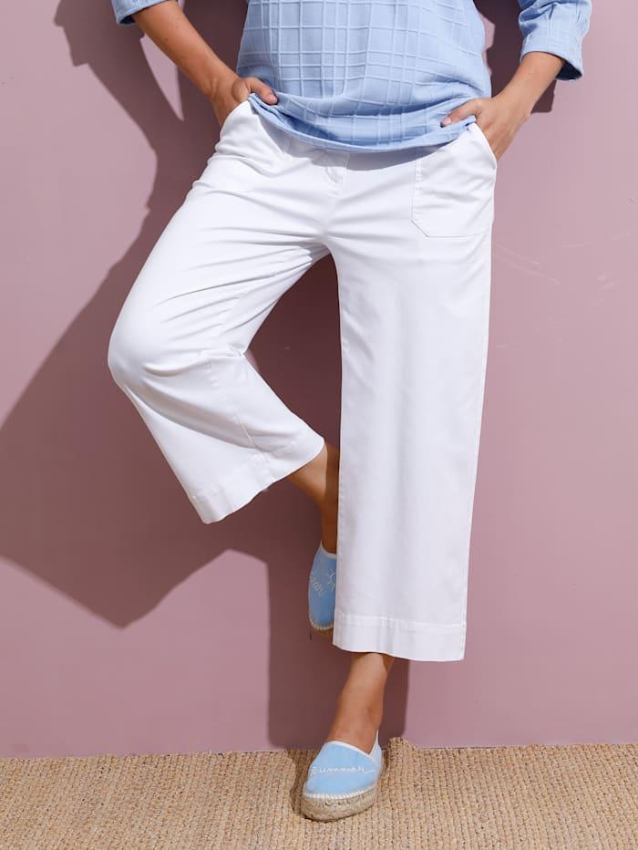 MIAMODA Džínsy-Culotte s kontrastným šitím, Biela