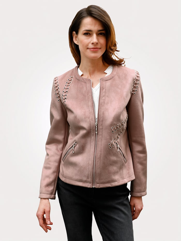 MONA Biker jacket made from soft faux suede, Rose