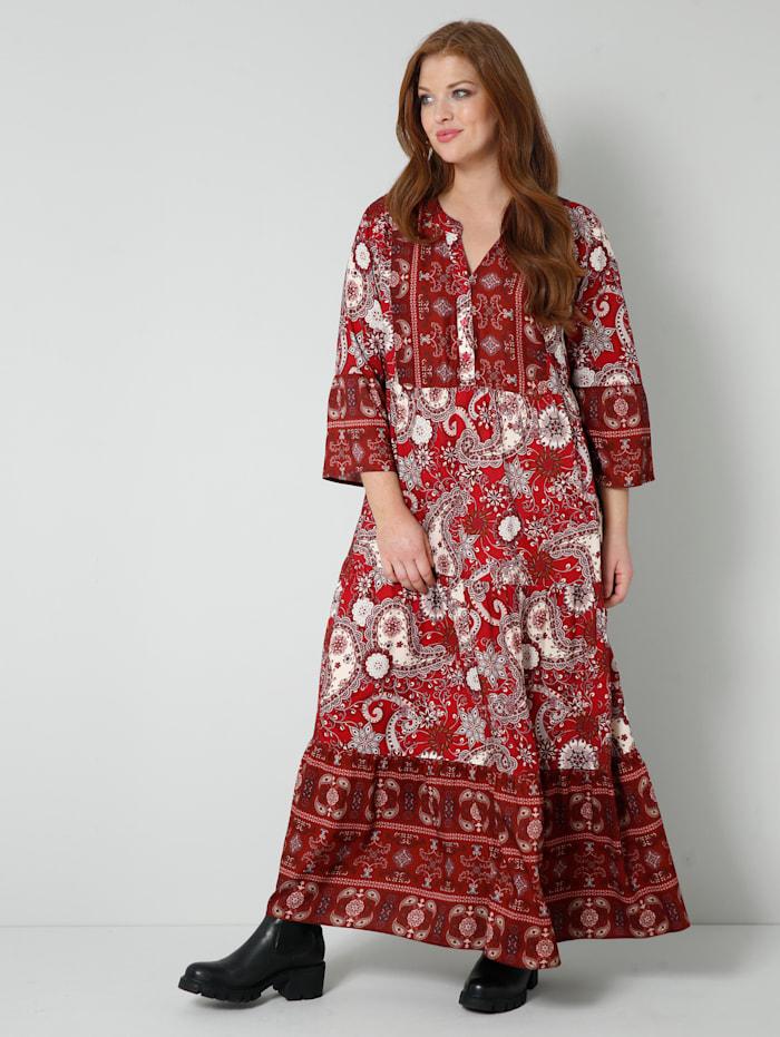 Sara Lindholm Web-Kleid im schönen Mustermix, Rot/Weiß