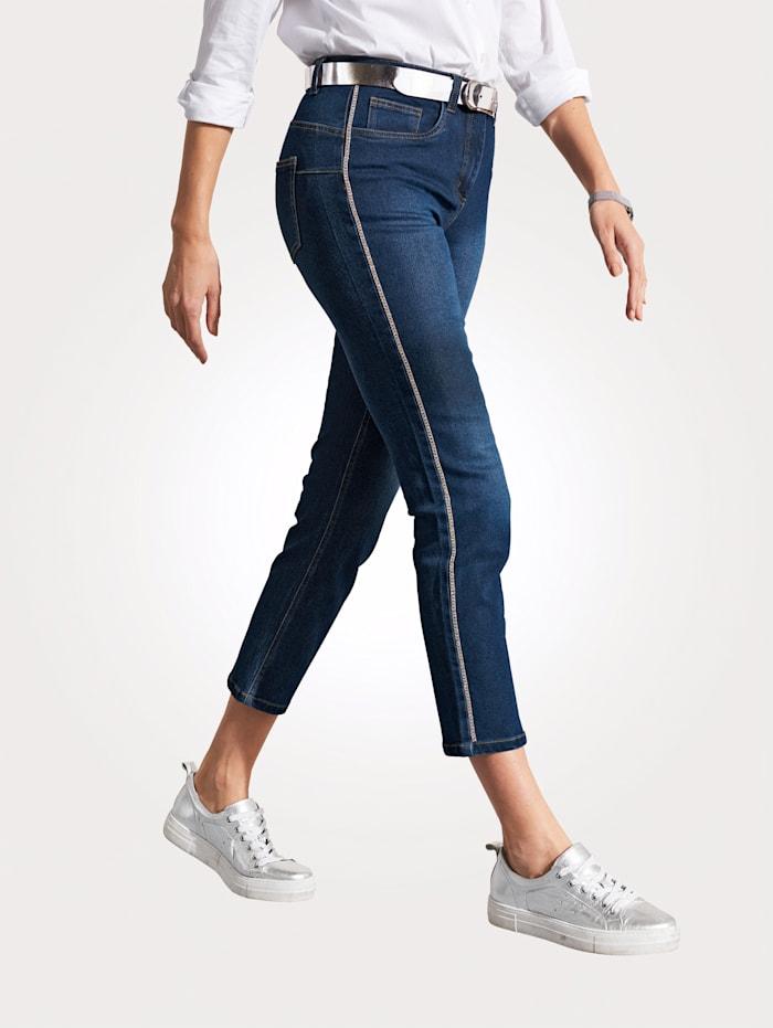 MONA Jeans met strassteentjes opzij, Donkerblauw