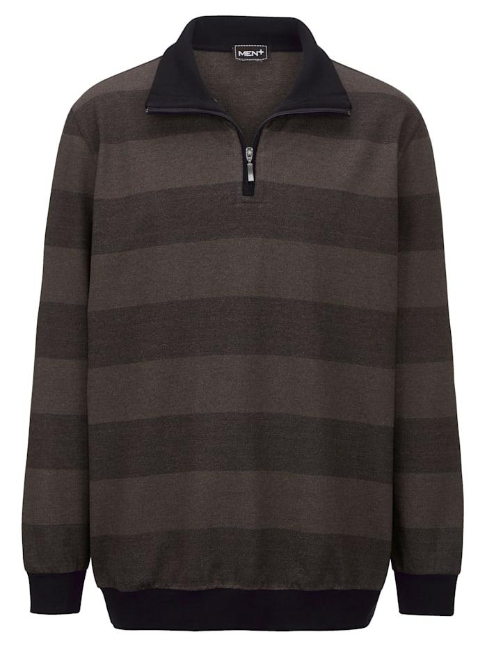 Men Plus Sweatshirt med hög krage och kort dragkedja, Svart/Mörkbrun