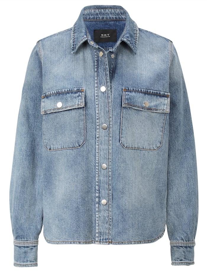 SET Jeans-Overshirt, Jeansblau