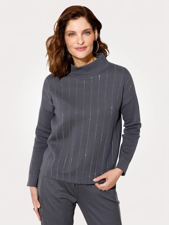 MONA Pullover mit überschnittener Schulter, Grau/Silberfarben