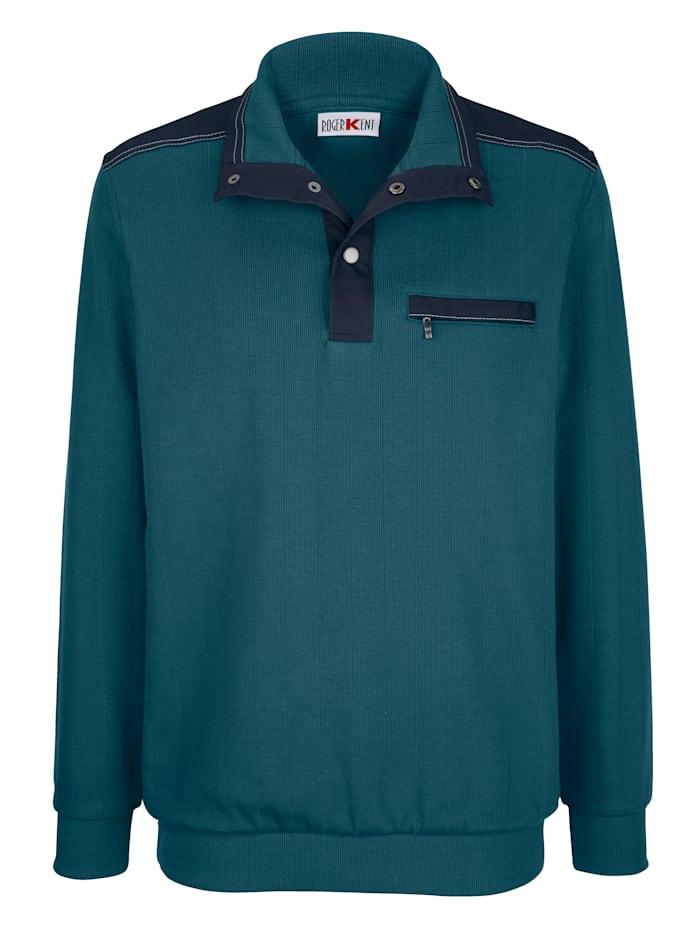 Roger Kent Sweatshirt med bröstficka, Petrol