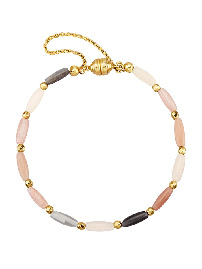 Armband med månsten och hematit, Flerfärgad