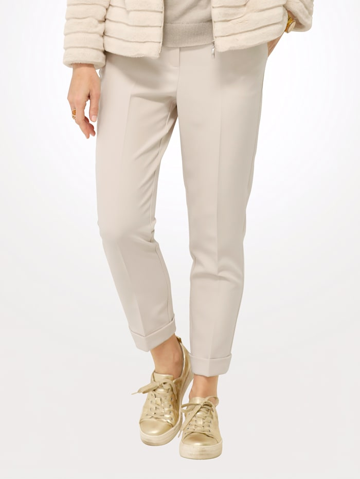 MONA Pantalon avec plis permanents, Sable