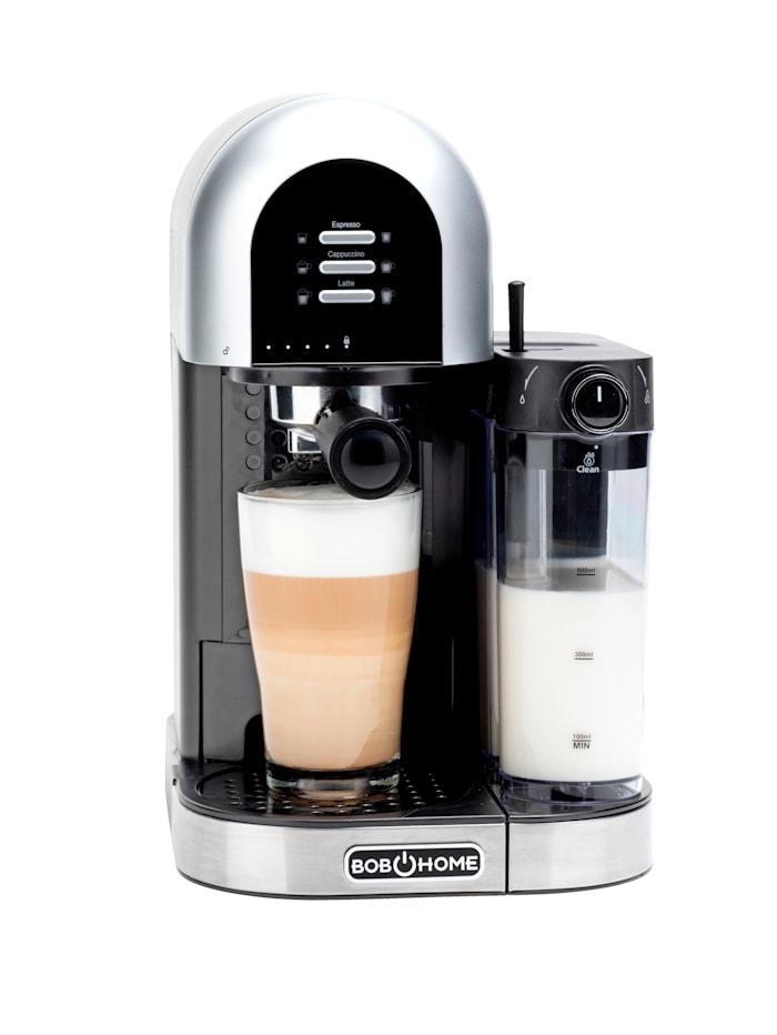 Bobhome Espresso-Kaffeecenter 'LATESSA', Siebträgermaschine, 15 bar, für Espresso-/Kaffeepulver oder ESE Hardpods, silberfarben/schwarz