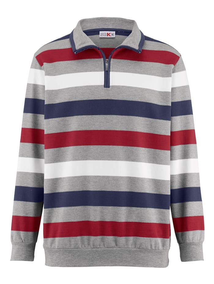 Roger Kent Sweatshirt med dragkedja, Grå/Röd/Blå