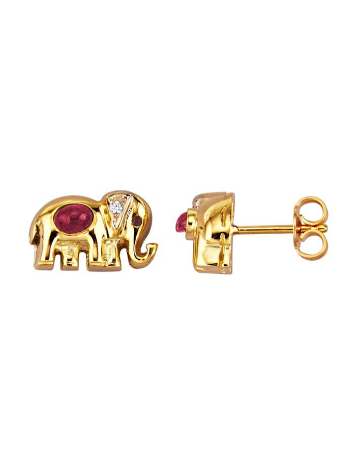 Amara Pierres colorées Boucles d'oreilles Éléphants en or jaune, Rouge