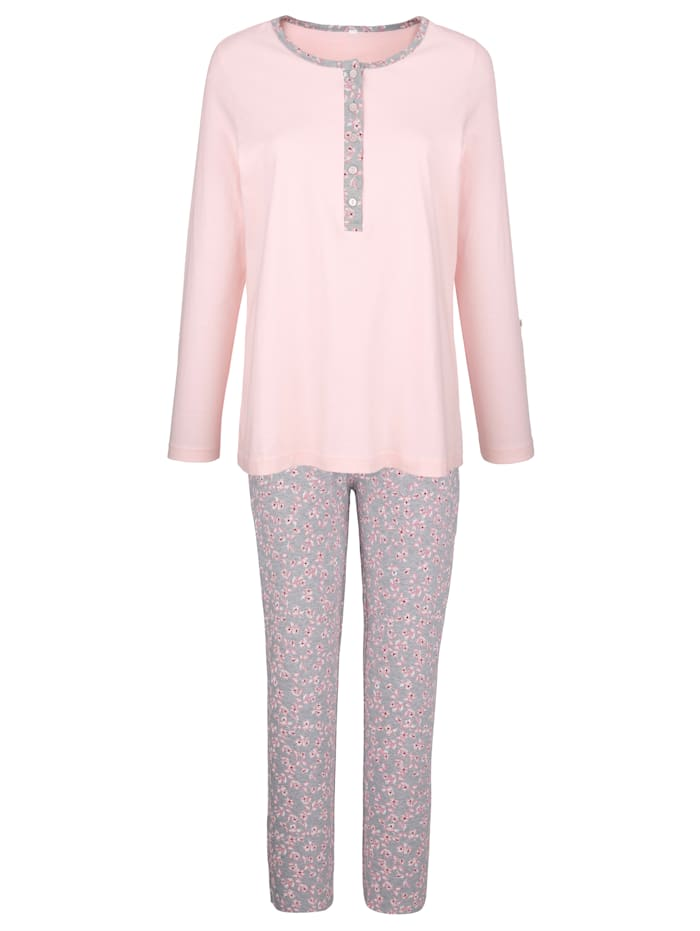 Blue Moon Pyjama à revers boutonnable aux manches, Rose/Gris