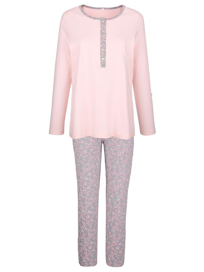 Blue Moon Pyjamas med ärmar som kan vikas upp och fästas med slejf och knapp, Rosa/Grå