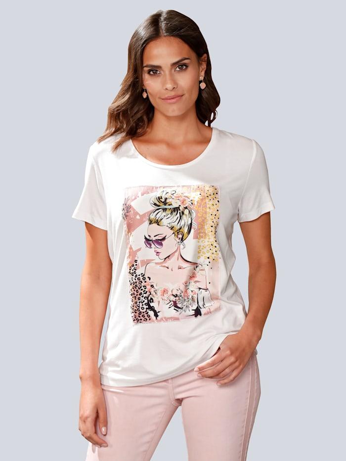 Alba Moda Shirt mit appliziertem Motiv-Druck, Off-white/Rosé