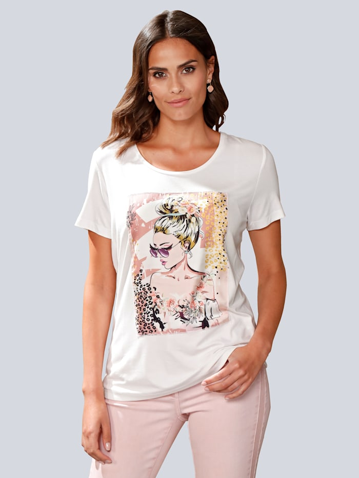 Alba Moda Shirt met print, Offwhite/Roze
