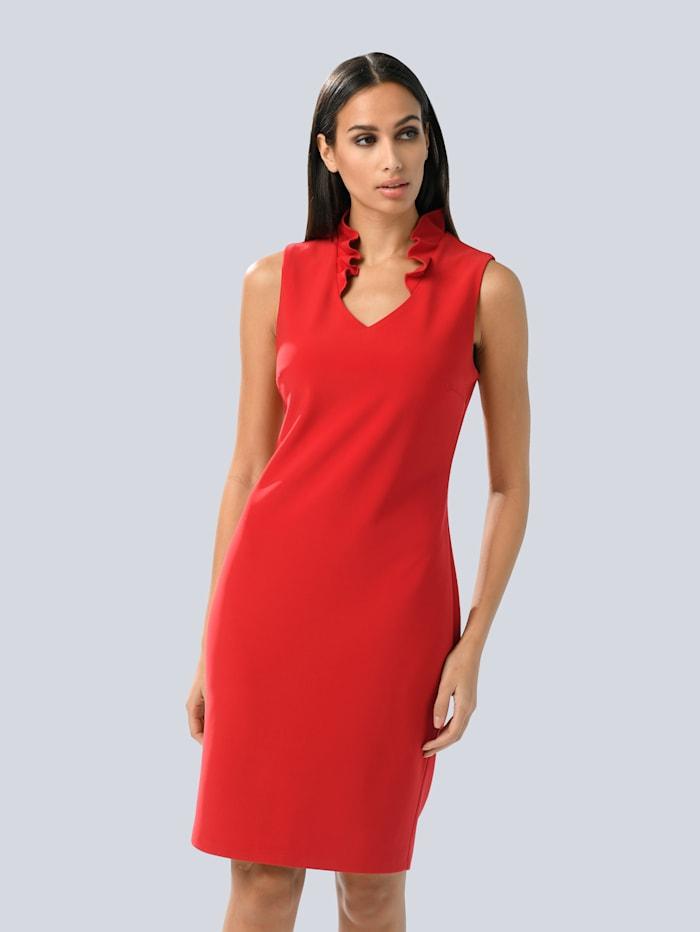 Alba Moda Kleid mit kleinen Rüschen am Ausschnitt, Rot