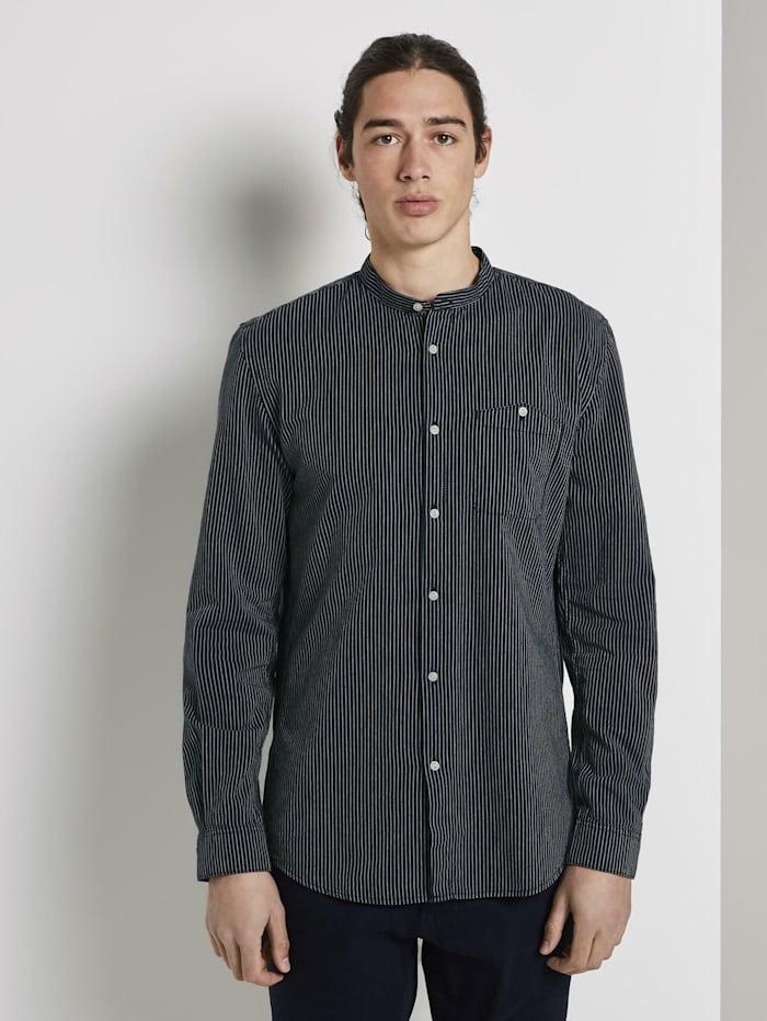 Tom Tailor Denim Gestreiftes Hemd mit Stehkragen, navy white seersucker stripe