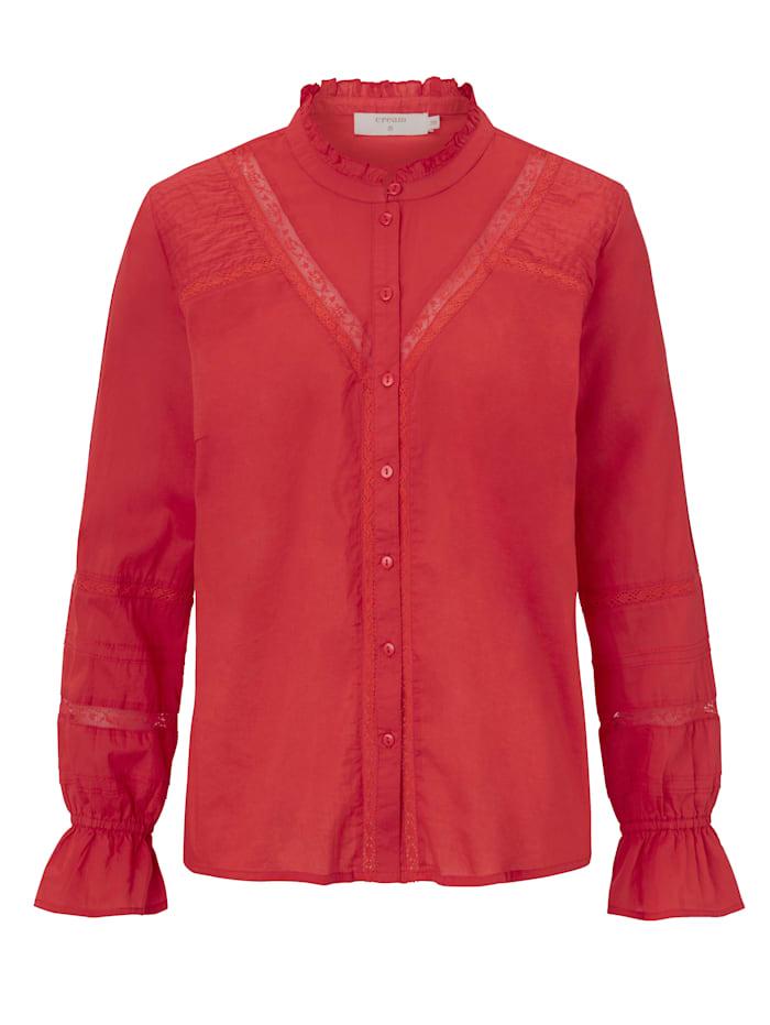 Cream Bluse mit Rüschen, Rot