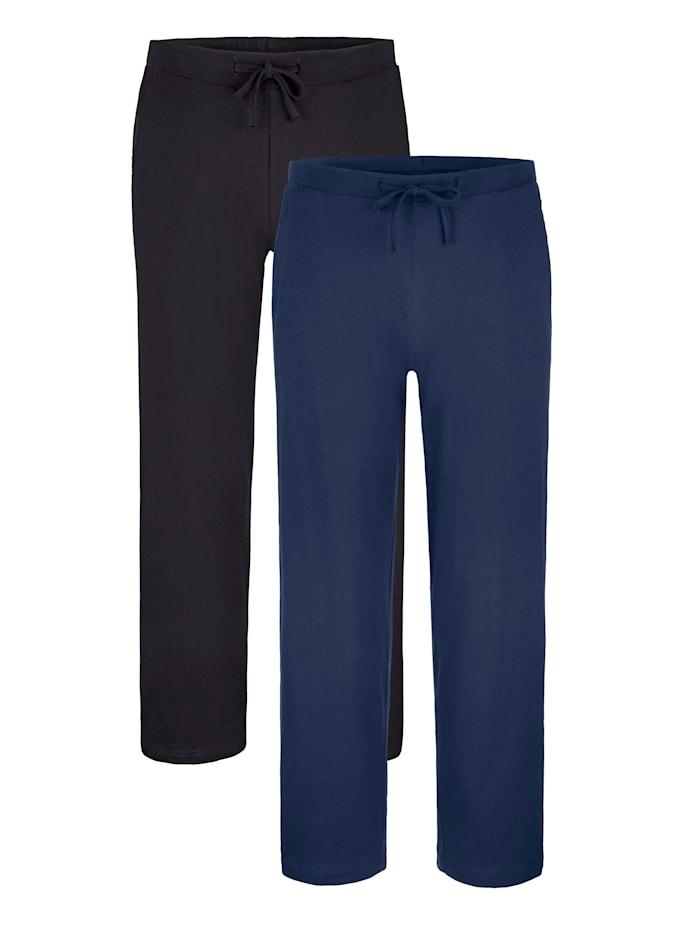 Pyjamabroeken, Zwart/Marine