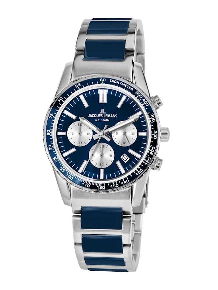 Jacques Lemans Unisex-Uhr Chronograph Serie: Liverpool, Kollektion: Sport Hinweis 1-2059I, Silberfarben/Blau
