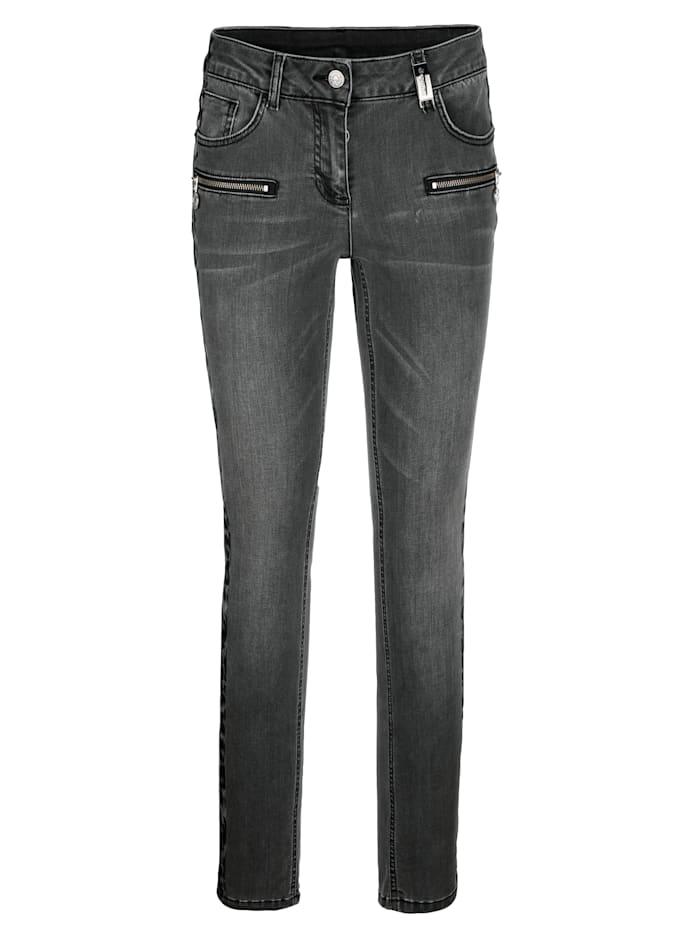 Jeans mit Galon im Leoprint