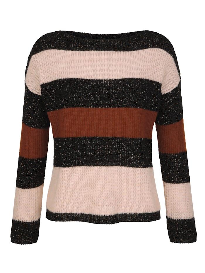 AMY VERMONT Pullover mit Streifenmuster und Glanzgarn, Schwarz/Rosé/Braun