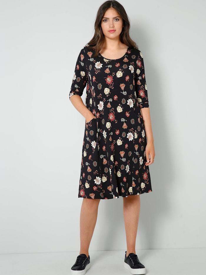Janet & Joyce Jersey jurk met bloemenprint, Zwart/Rood
