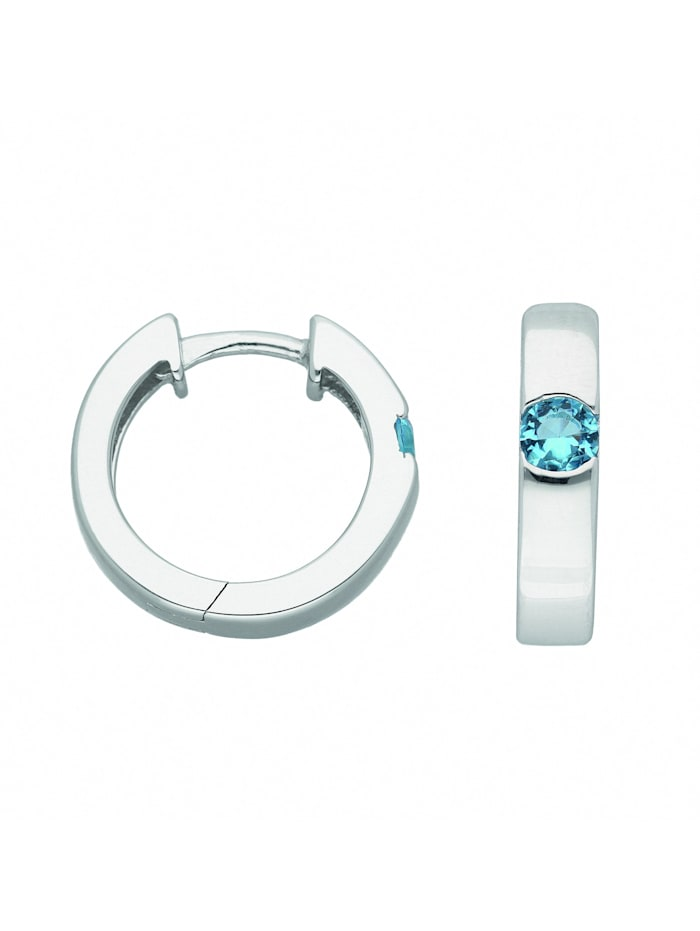 1001 Diamonds Damen Silberschmuck 925 Silber Ohrringe / Creolen mit Zirkonia Ø 15,4 mm, bunt
