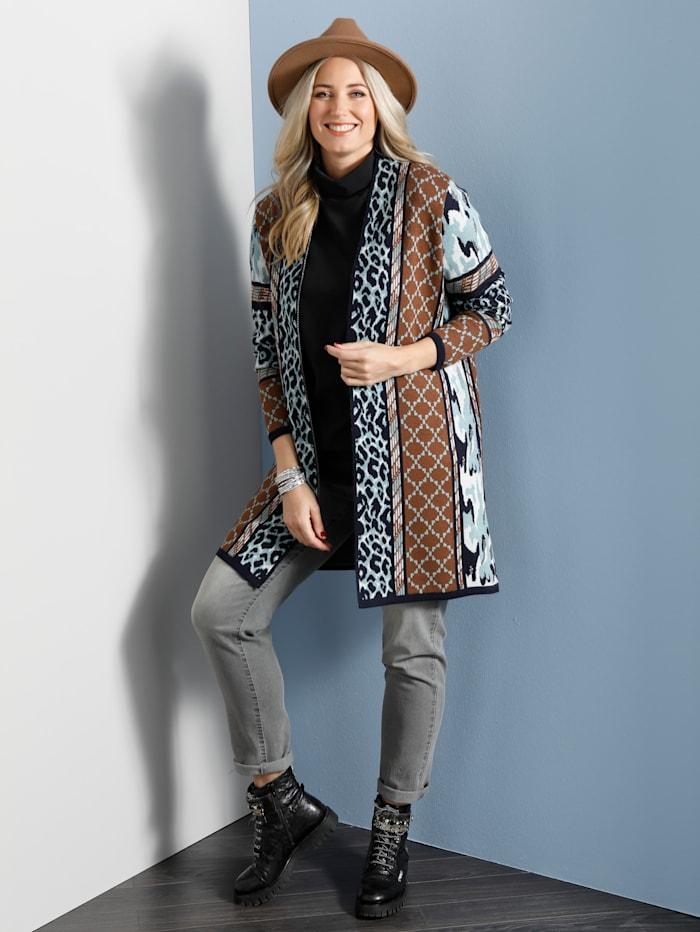 MIAMODA Lang strikkejakke med moteriktig mønstermiks, Blå