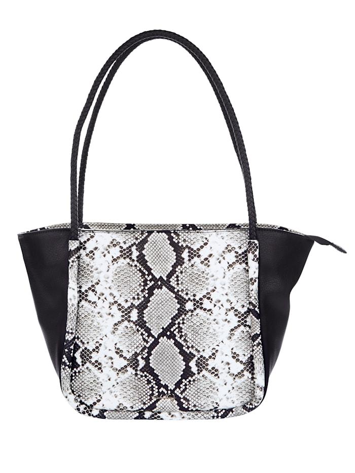 Taschenherz Väska med ormskinnsmönster 2 delar, svart/flerfärgad