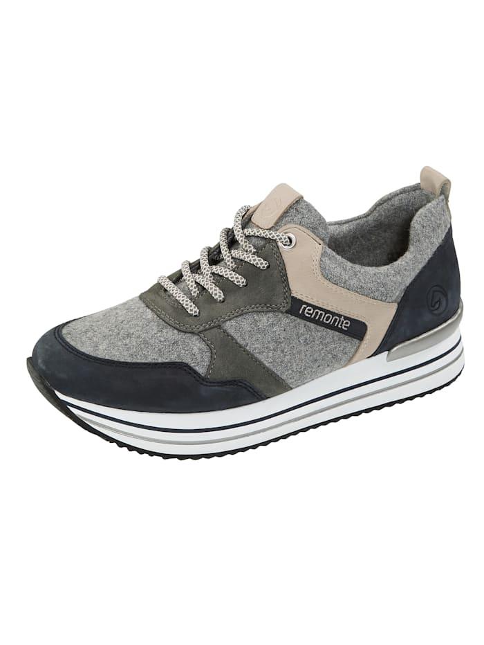 Remonte Sneakers à plateau à membrane remonte-Tex, Gris/Bleu