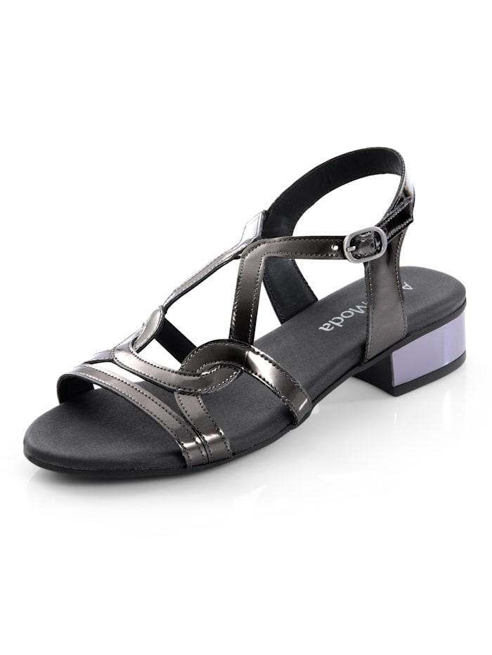 Alba Moda Sandalette in reflektierender Mirroroptik, Anthrazit