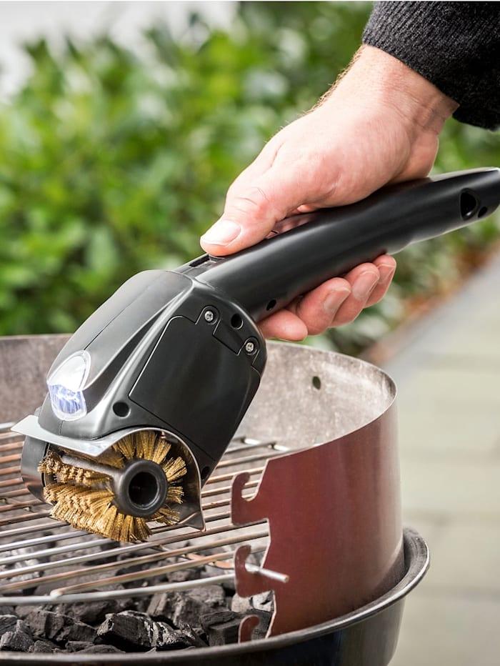 Elektrischer Grillrost-Reiniger mit rotierender Bürste, schwarz