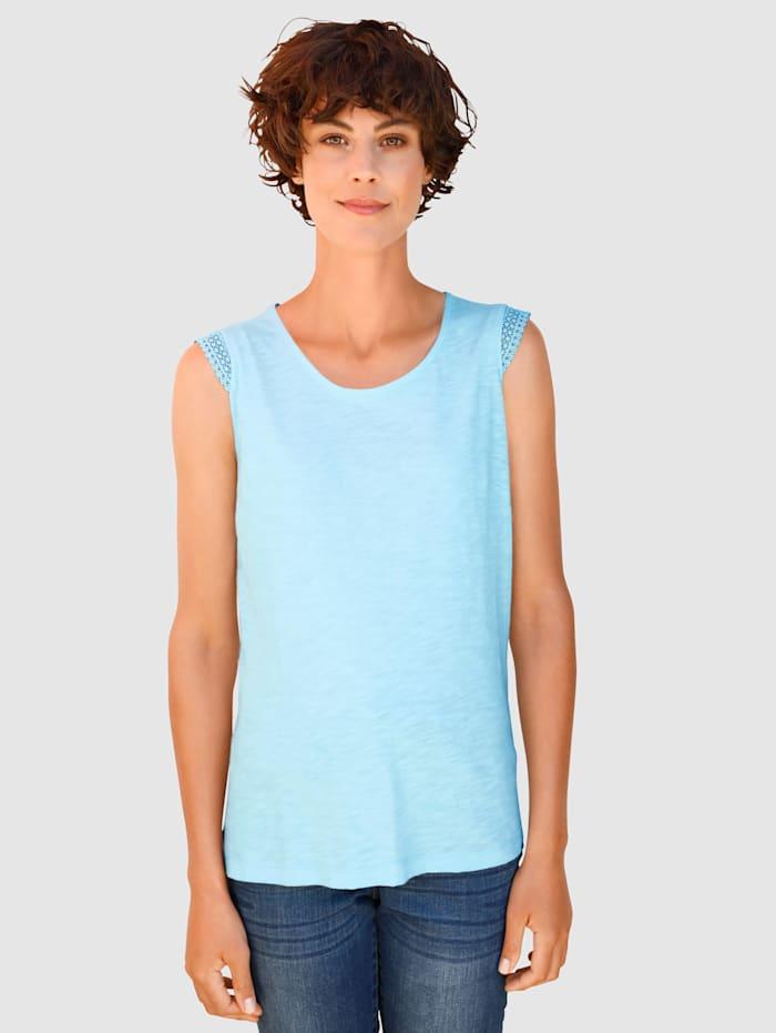 Dress In Top mit Crochettape am Arm, Hellblau