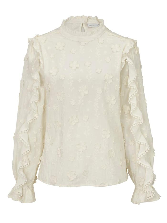 Fabienne Chapot Bluse mit Blütenapplikation, Creme-Weiß