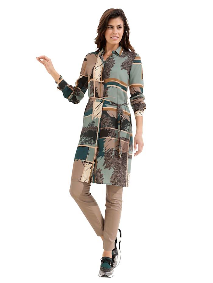 AMY VERMONT Kleid mit grafischem Druck, Türkis