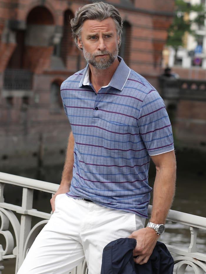 BABISTA Poloshirt met bijzonder jacquardpatroon, Blauw/Paars