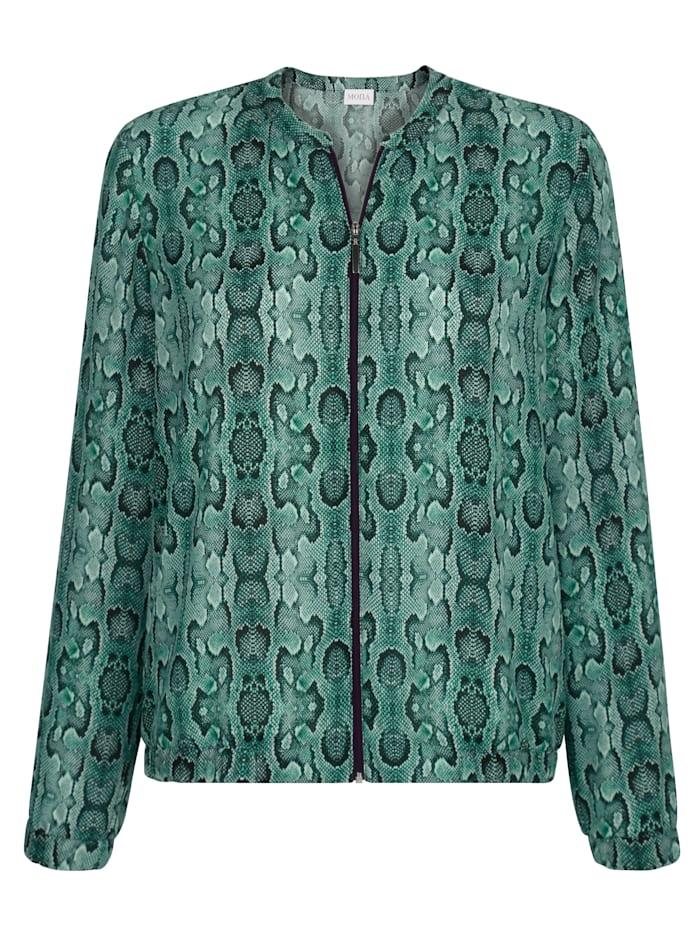 Blouson blouse with a bold snake print