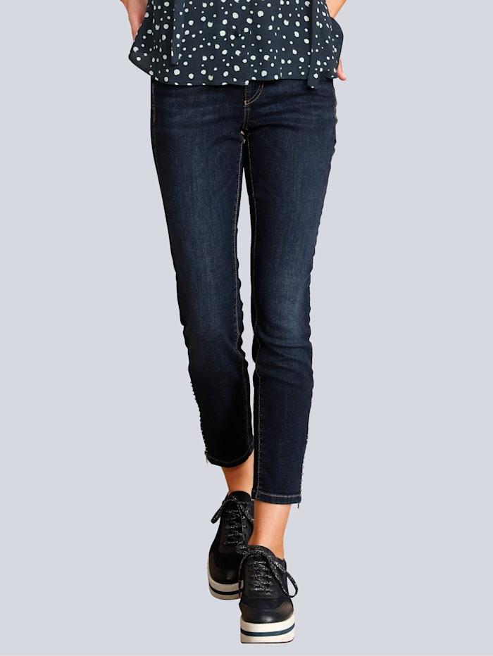 CAMBIO Jeans mit Zipper am Saum, Blue stone