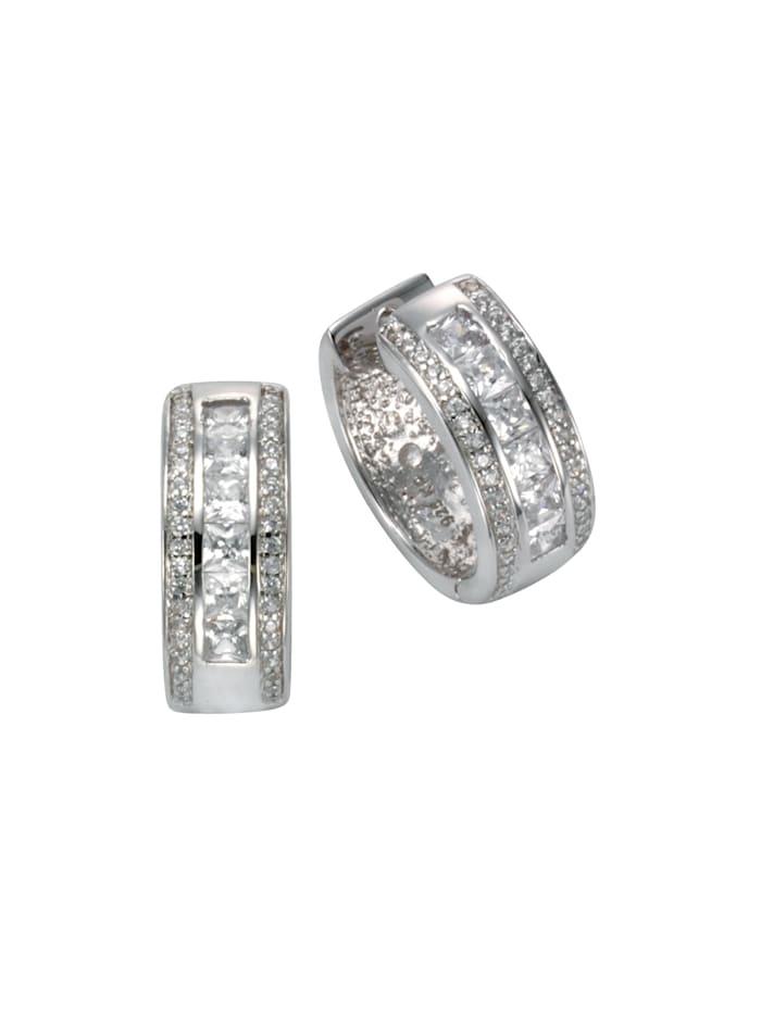 Celesta Creolen 925/- Sterling Silber Zirkonia weiß 1,9cm Glänzend 0,195 925/- Sterling Silber, Silbergrau