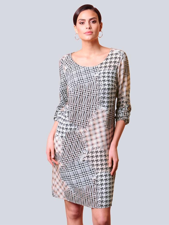 Alba Moda Kleid allover im Hahnentrittmuster, Rosé/Creme-Weiß/Schwarz