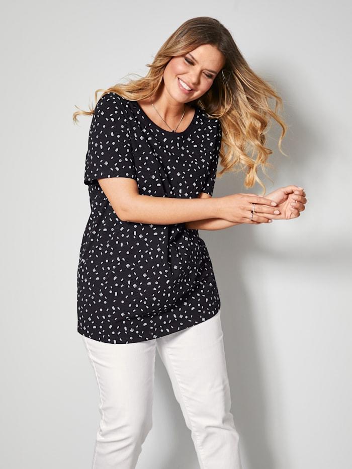 Janet & Joyce Shirt allover bedruckt, Schwarz/Weiß