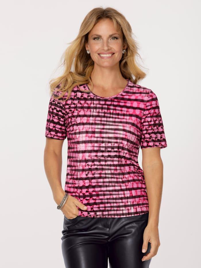 Barbara Lebek Shirt mit allover Druck, Schwarz/Pink