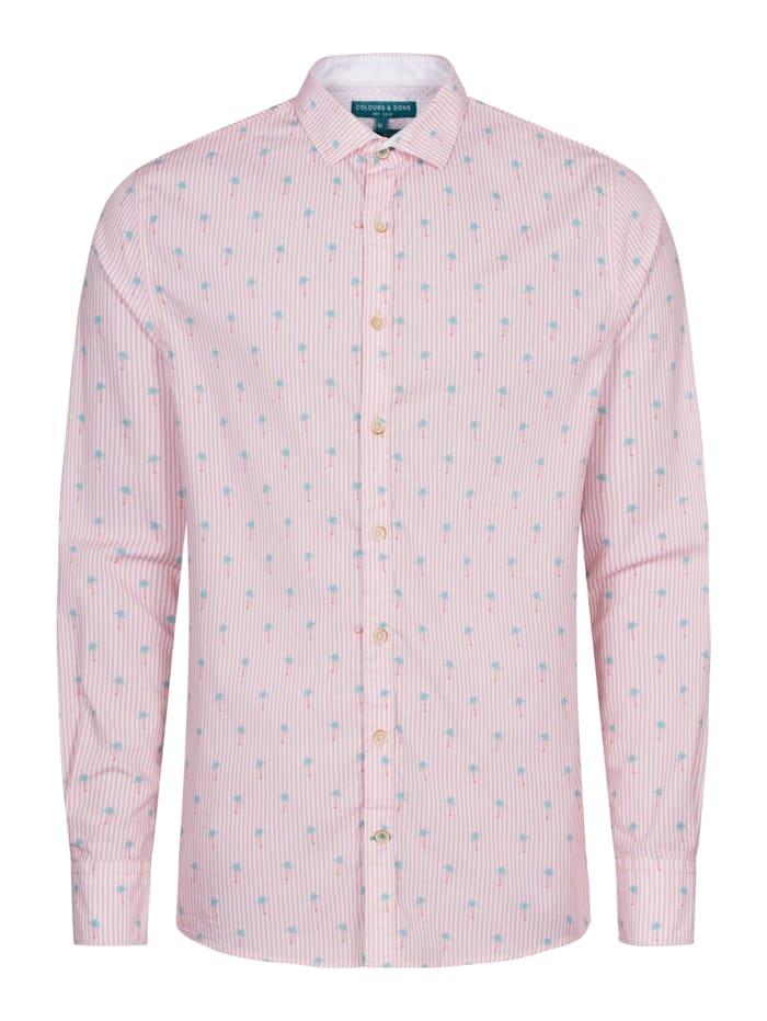 COLOURS & SONS Langarmhemd Peter Label-Details, rosa