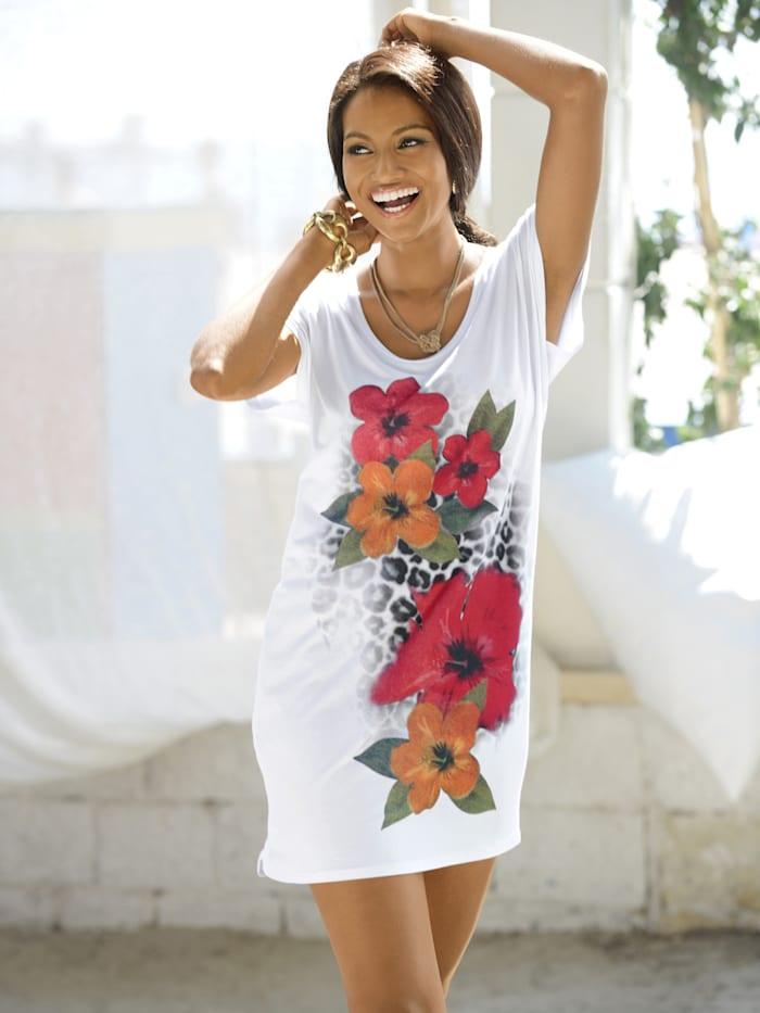 Alba Moda Longshirt in bequemer Weite, weiß
