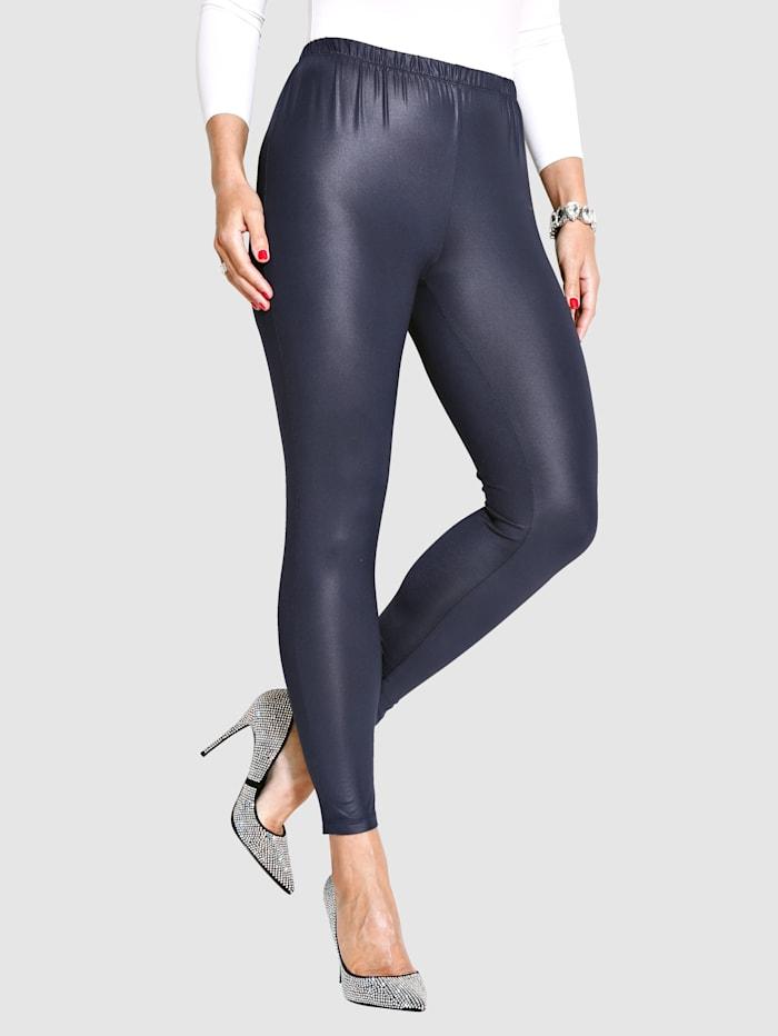 MIAMODA Glansiga leggings, Marinblå