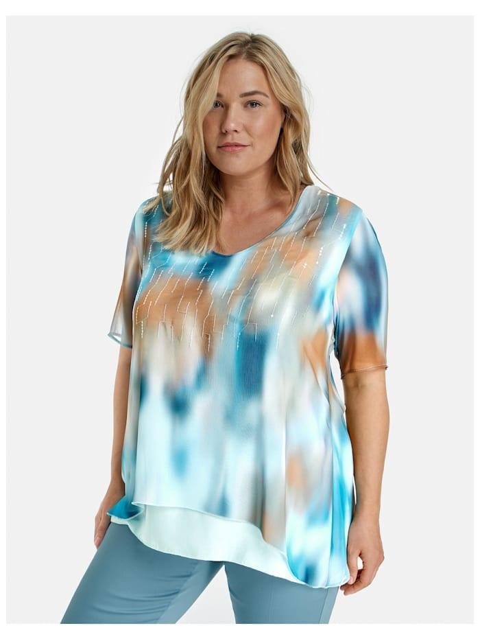 Samoon Ausgestelltes Blusenshirt im Lagen-Look, Mocca Brown gemustert