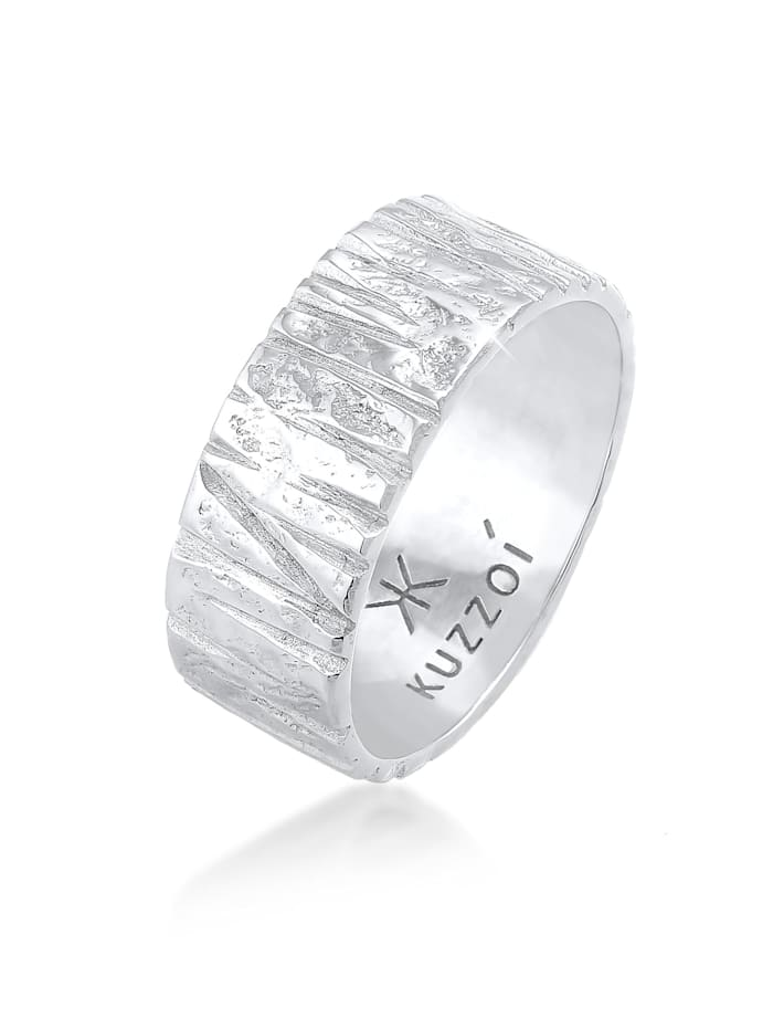 Kuzzoi Ring Bandring Breit Struktur Gehämmert 925 Silber, Silber