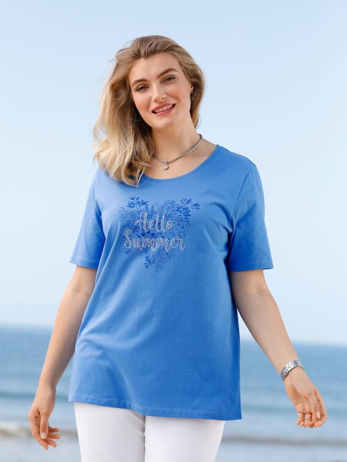 m. collection Shirt aus reiner Baumwolle, Blau