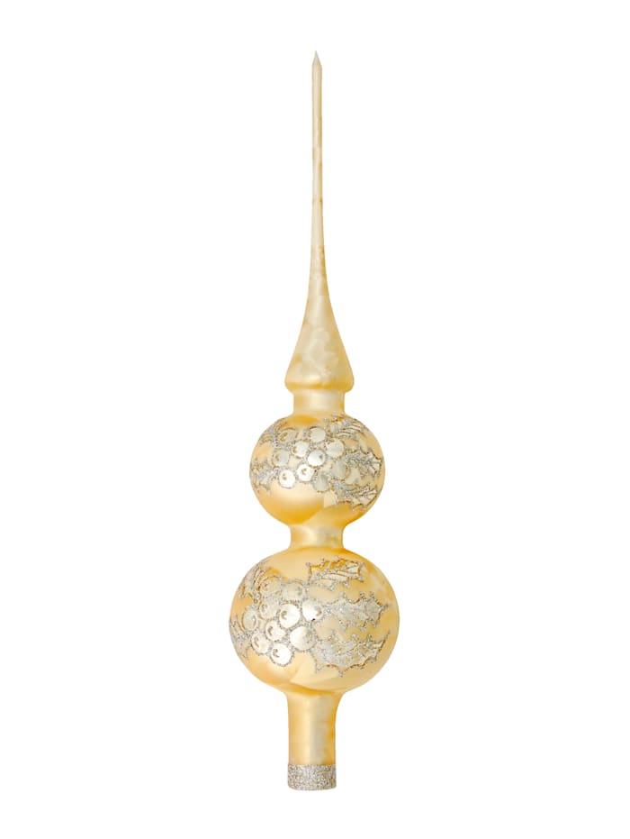 Krebs Glas Lauscha Christbaumspitze 'Ilex/Adventskerze', Eislack gold