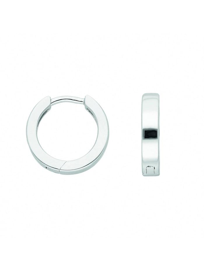 1001 Diamonds Damen Silberschmuck 925 Silber Ohrringe / Creolen Ø 13,5 mm, silber