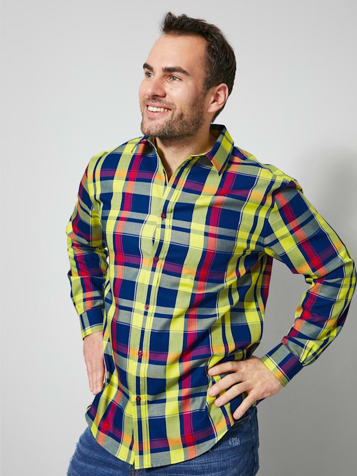 Men Plus Hemd aus reiner Baumwolle, Blau/Rot/Gelb